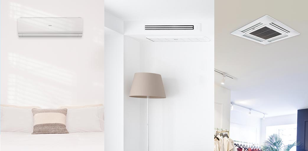 Photo of Haier Ductless indoor unit style choices - wall mount, ducted, cassette