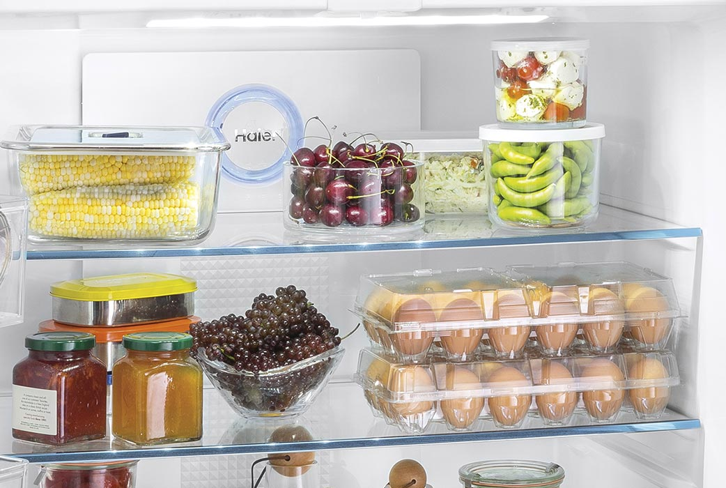 Haier refrigerator LED lighting and glass shelving