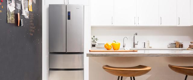 Haier french door refrigerator in small space contemporary kitchen