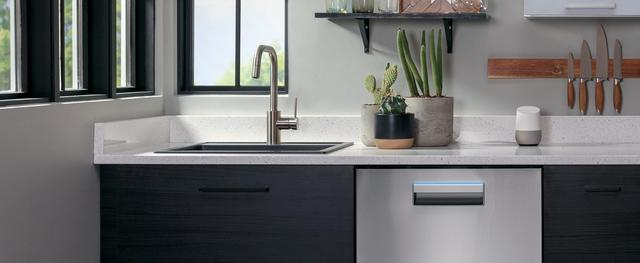 Haier stainless dishwasher installed in contemporary home