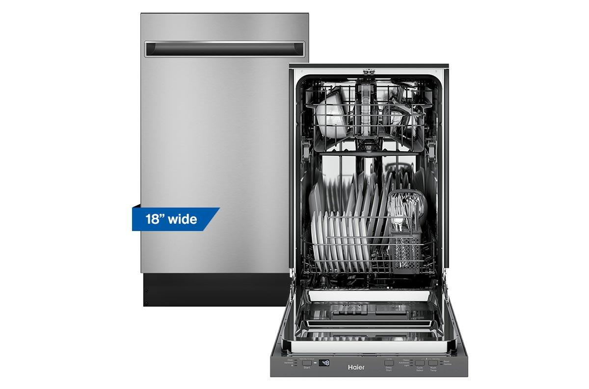 Haier 18 inch stainless steel dishwasher pictured open and closed