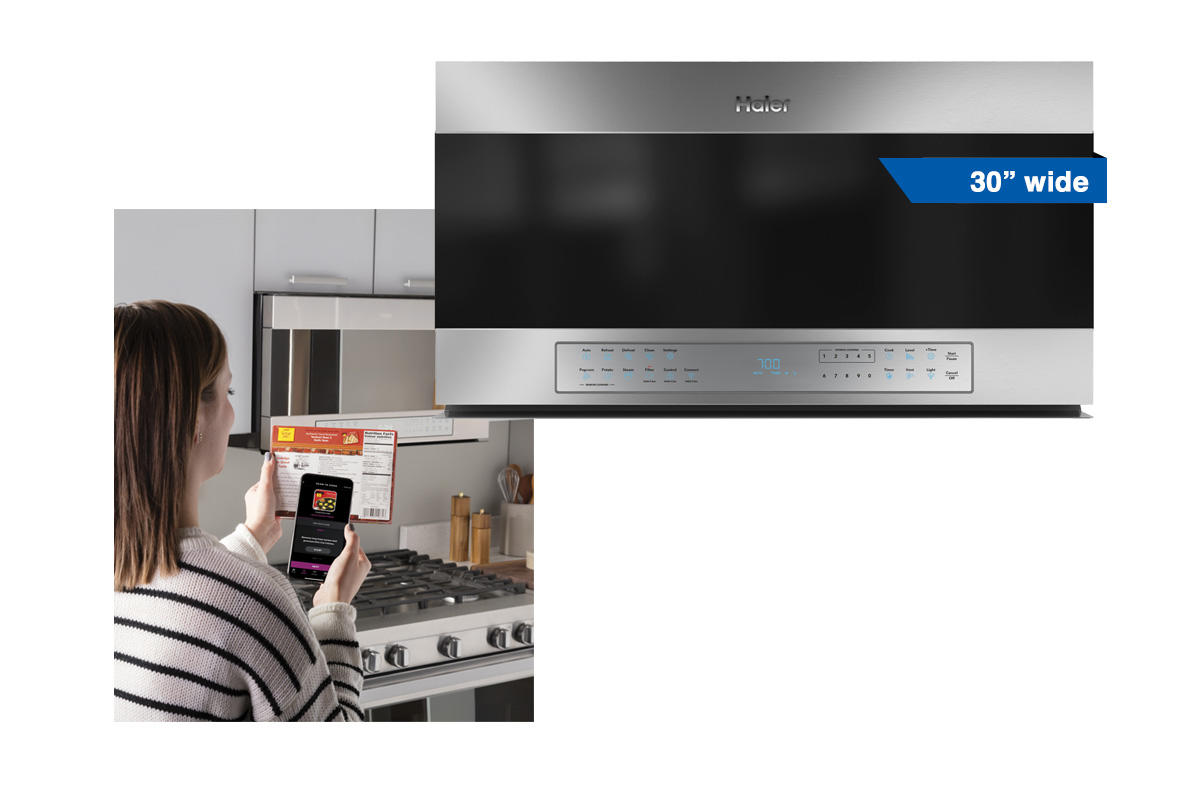 Haier 30 inch stainless steel microwave with built-in WiFi