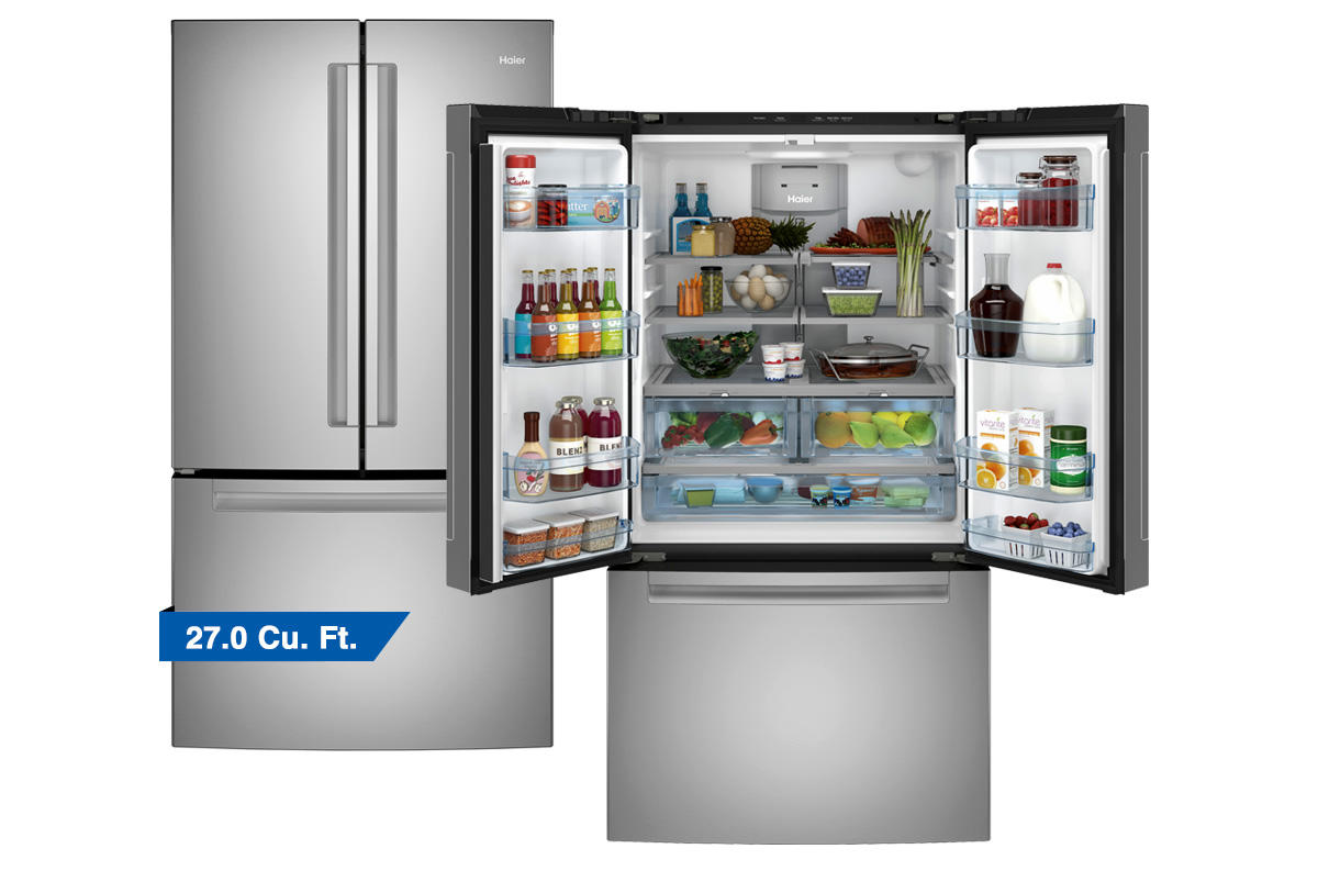 Haier full size stainless steel french door refrigerator pictured open and closed