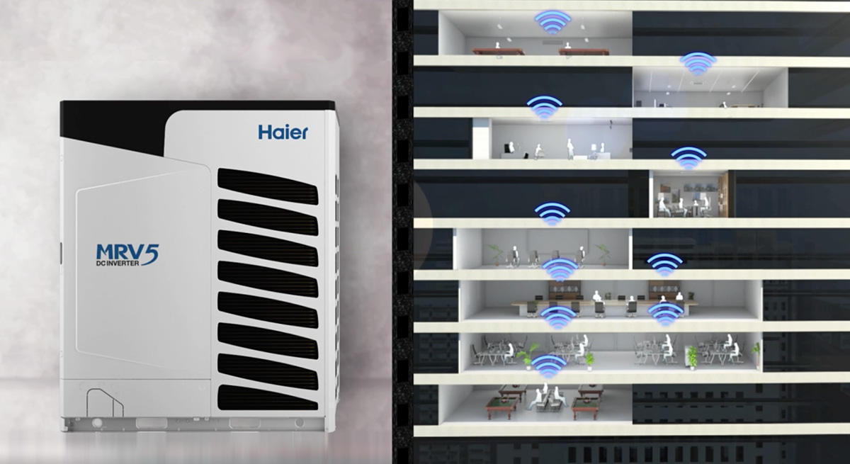 Photo of MRV-5 Series unit and wifi controlled office building
