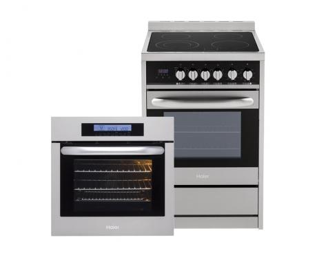 Product support photo of a Haier electric range and single wall oven