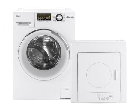 Product support photo of a washer dryer combo and portable electric dryer